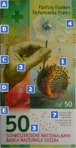 50 new Swiss franc note specimen obverse