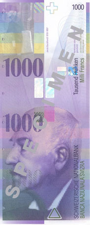 1000 Swiss Franc Note Obverse