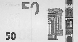 new 50 Euro note Infrared properties