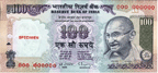 One hundred Indian rupees banknote