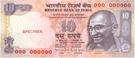 Ten Indian rupees banknote