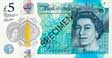 Five Pound Sterling polymer banknote