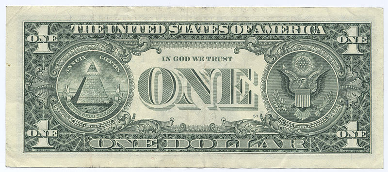 United States One Dollar Bill Reverse