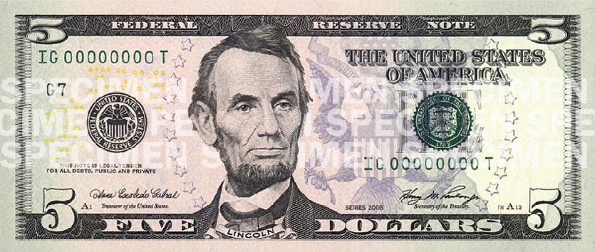 United States Five Dollar Bill Counterfeit Money