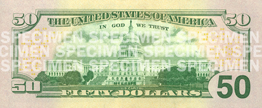 The Redesigned 50 Dollar Bill Reverse